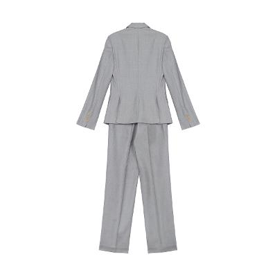 modern mood one button jacket & straight line slacks grey